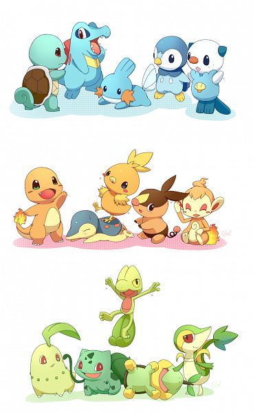 Tags: Anime, Pixiv Id 763010, Pokémon, Chikorita, Tepig, Turtwig, Charmander, Bulbasaur, Mudkip, Chimchar, Totodile, Snivy, Squirtle