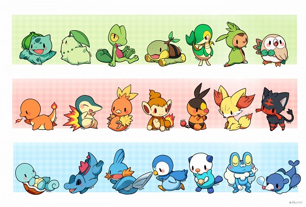 Tags: Anime, Pixiv Id 763010, Pokémon, Chespin, Bulbasaur, Mudkip, Chimchar, Froakie, Totodile, Snivy, Popplio, Squirtle, Treecko