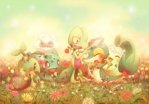 Tags: Anime, Kurone Kotarou, Pokémon, Bulbasaur, Snivy, Chikorita, Whimsicott, Treecko, Turtwig, Pixiv, Fanart, Starter Pokémon