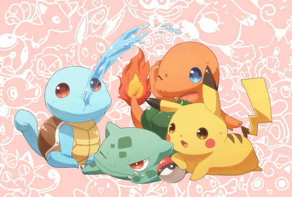Tags: Anime, Yuu / 遊, Pokémon, Pikachu, Bulbasaur, Charmander, Squirtle, Pixiv, Fanart, Fanart From Pixiv, Starter Pokémon