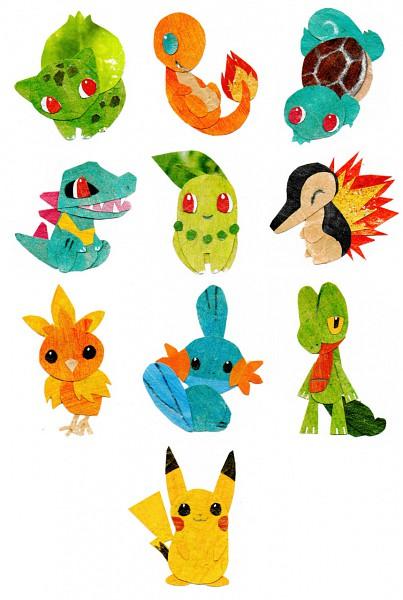 Tags: Anime, Botjira, Pokémon, Totodile, Treecko, Chikorita, Torchic, Mudkip, Quilava, Squirtle, Bulbasaur, Pikachu, Mobile Wallpaper