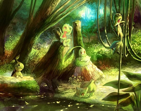 Tags: Anime, Purplekecleon, Pokémon, Chikorita, Snivy, Treecko, Turtwig, Bulbasaur, Fanart, Starter Pokémon