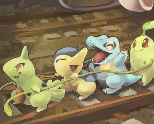 Tags: Anime, Toneko, Pokémon, Cyndaquil, Chikorita, Larvitar, Totodile, Rope Train, Fanart, Pixiv, Starter Pokémon
