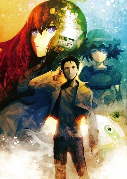 Tags: Anime, Huke, 5pb. (Studio), Steins;Gate, Shiina Mayuri, Okabe Rintarou, Makise Kurisu, Scan, Mobile Wallpaper, Official Art