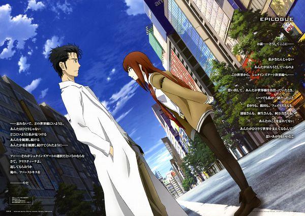 Tags: Anime, Sakai Kyuuta, 5pb. (Studio), WHITE FOX, Steins;Gate, Okabe Rintarou, Makise Kurisu, Official Art, Scan