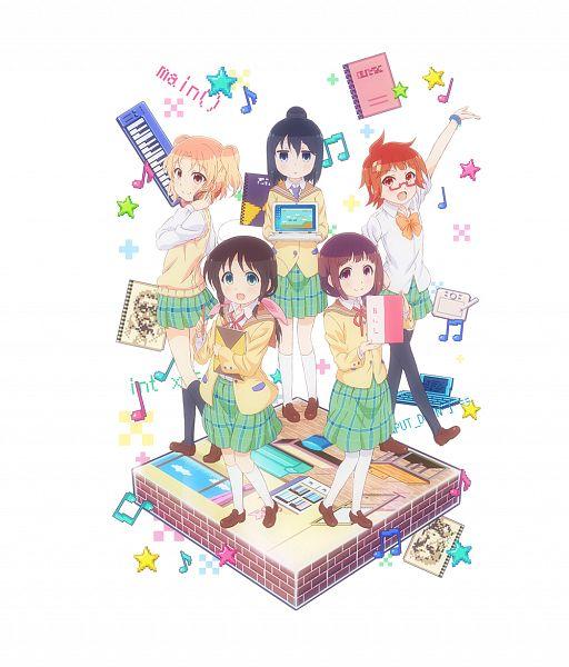 Tags: Anime, Furukawa Hideki, Silver Link, Stella no Mahou, Seki Ayame, Honda Tamaki, Murakami Shiina, Fujikawa Kayo, Fuda Yumine, Keyboard (Instrument), Official Art, Cover Image, PNG Conversion