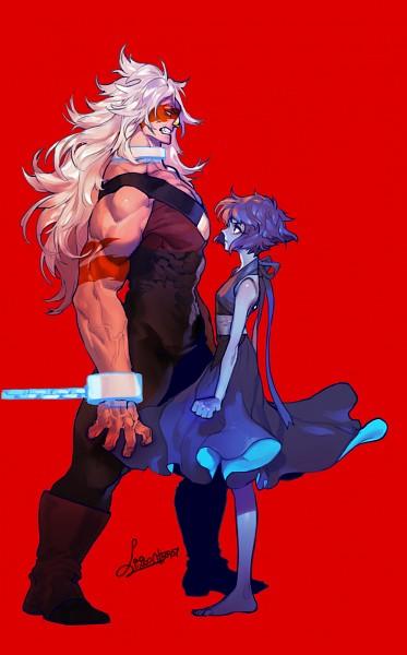 Tags: Anime, Pigeon666, Steven Universe, Lapis Lazuli (Steven Universe), Jasper (Steven Universe), Shackles, Gritted Teeth, Orange Skin, PNG Conversion, Mobile Wallpaper, Fanart, Tumblr