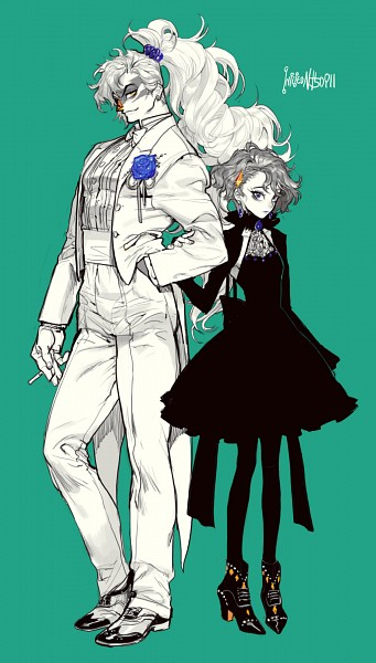 Tags: Anime, Pigeon666, Steven Universe, Jasper (Steven Universe), Lapis Lazuli (Steven Universe), Blue Gem, Aqua Background, Orange Gem, Tailcoat, Fanart, PNG Conversion, Mobile Wallpaper, Tumblr