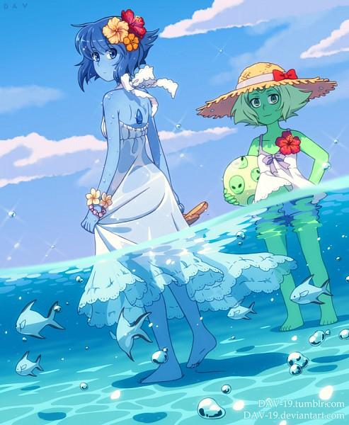 Tags: Anime, DAV-19, Steven Universe, Lapis Lazuli (Steven Universe), Peridot (Steven Universe), Blue Gem, Tumblr, Fanart
