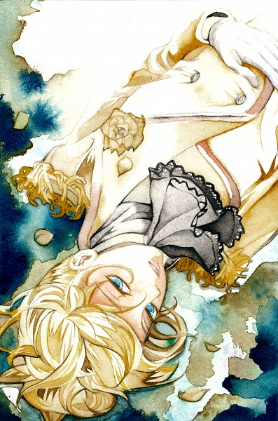 Tags: Anime, Pixiv Id 2163270, VOCALOID, Kagamine Len, Story of Evil, Akuno-p, Watercolor, Mobile Wallpaper, Traditional Media, Evillious Chronicles, Pixiv