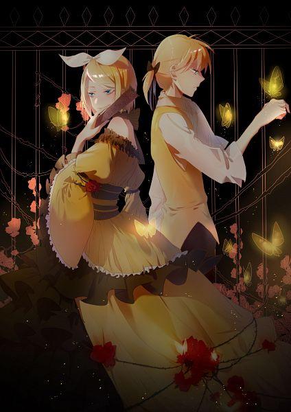 Tags: Anime, Pixiv Id 13695413, VOCALOID, Kagamine Len, Kagamine Rin, Yellow Outerwear, Brambles, Dark Colors, Railing, Story of Evil, Evillious Chronicles, Akuno-p, Pixiv