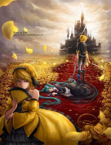 Tags: Anime, Redpear, VOCALOID, Hatsune Miku, Kagamine Len, Kagamine Rin, Path, deviantART, Story of Evil, Akuno-p