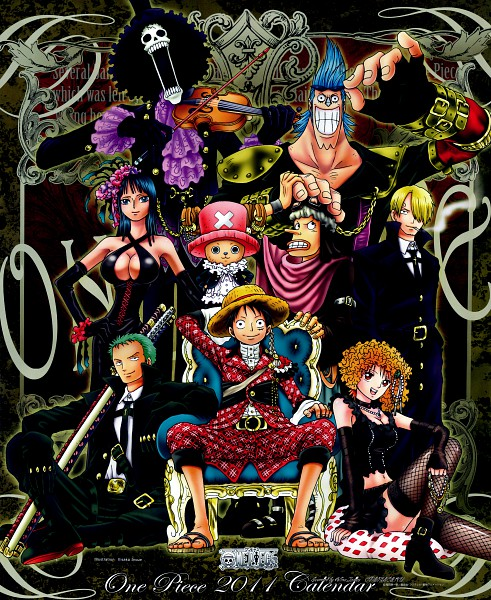 Tags: Anime, ONE PIECE, Brook, Nico Robin, Tony Tony Chopper, Franky, Monkey D. Luffy, Sanji, Usopp, Nami (ONE PIECE), Roronoa Zoro, Calendar 2011, Calendar (Source)