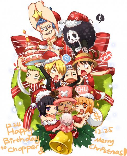 Tags: Anime, ONE PIECE, Nico Robin, Brook, Franky, Tony Tony Chopper, Sanji, Monkey D. Luffy, Nami (ONE PIECE), Usopp, Wreath, Christmas Ornament, >w<