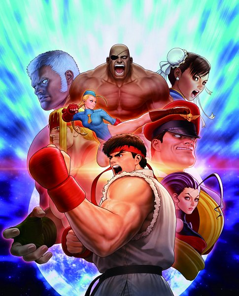 Tags: Anime, Capcom, Street Fighter, Chun-Li, Alex (Street Fighter), Rose (Street Fighter), M. Bison, Ryuu (Street Fighter), Sagat, Cammy White, Game Cover, Official Art
