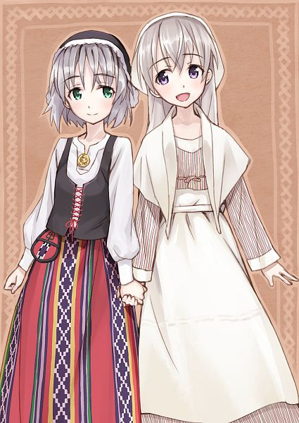 Tags: Anime, Matsuryu, Strike Witches, Fashionplate, Eila Ilmatar Juutilainen, Sanya V. Litvyak, Russian Clothes, Side by Side, Fanart, Pixiv, Mobile Wallpaper, Fanart From Pixiv, PNG Conversion