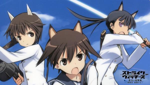 Tags: Anime, Shimada Humikane, Strike Witches, Takei Junko, Sakamoto Mio, Miyafuji Yoshika, Wallpaper, HD Wallpaper, Official Art