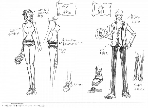Tags: Anime, Oda Eiichirou, ONE PIECE, Strong World, Strong World - Eiichiro Oda Artbook, Roronoa Zoro, Nami (ONE PIECE), Sketch, Official Art, Scan