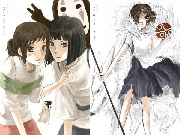 Tags: Anime, Studio Ghibli, Sen to Chihiro no Kamikakushi, Mononoke Hime, Moro (Mononoke Hime), Haku (Sen to Chihiro no Kamikakushi), San (Mononoke Hime), Kaonashi, Ogino Chihiro