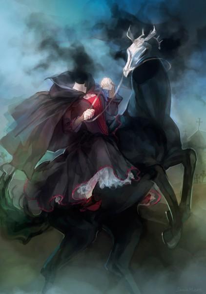 Tags: Anime, Janemere, DURARARA!!, Sturluson Celty, Horseback Riding, Mobile Wallpaper, Pixiv, Fanart