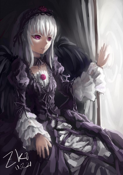 Tags: Anime, Tuzki, Rozen Maiden, Suigintou, Gothic Outfit, Pixiv, Mobile Wallpaper
