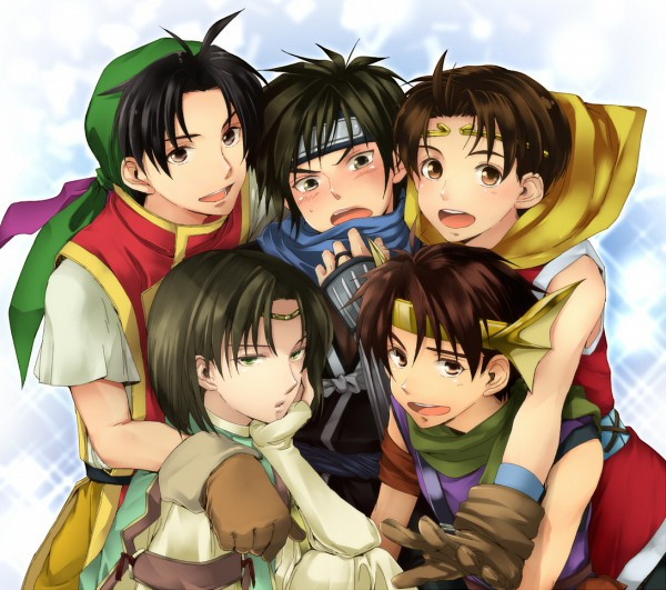 Tags: Anime, Imoko (Pixiv 809880), KONAMI, Suikoden I, Suikoden Series, Suikoden II, Luc, Tir McDohl, Genkaku Riou, Futch, Sasuke (Suikoden Ii), Pixiv