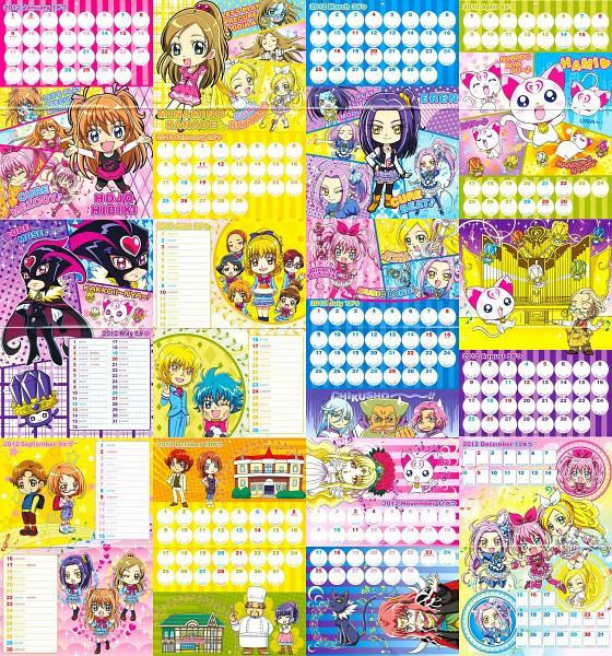Tags: Anime, Suite Precure♪, Minamino Kanade, Kurokawa Eren, Hojo Hibiki, Cure Muse (Masked), Nishijima Waon, Cure Rhythm, Aphrodite (Suite Precure), Cure Beat, Minamino Souta, Cure Melody, Mephisto