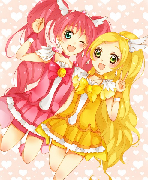 Tags: Anime, Pixiv Id 2943202, Suite Precure♪, Minamino Kanade, Hojo Hibiki, Cure Rhythm, Cure Melody, Cure Happy (Cosplay), Side by Side, Yellow Shorts, Pink Shorts, Cure Peace (Cosplay), Fanart From Pixiv