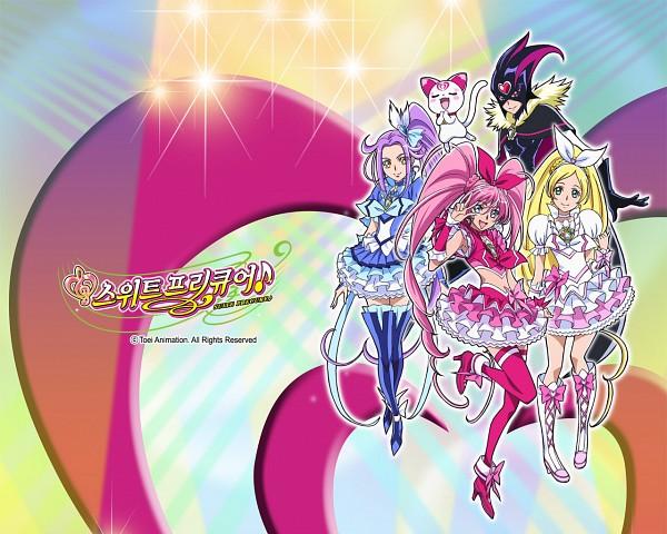 Tags: Anime, Takahashi Akira, Suite Precure♪, Kurokawa Eren, Cure Rhythm, Cure Beat, Cure Melody, Hummy, Shirabe Ako, Minamino Kanade, Cure Muse (Masked), Hojo Hibiki, Official Wallpaper