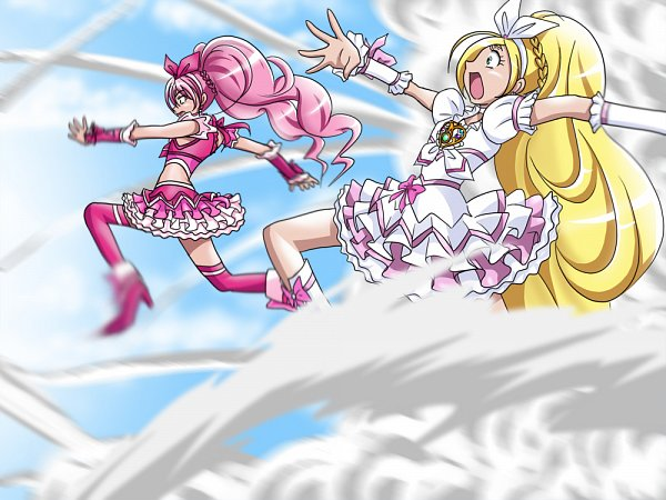Tags: Anime, Pixiv Id 4102750, Suite Precure♪, Cure Melody, Minamino Kanade, Hojo Hibiki, Cure Rhythm, Pretty Cure Series (Parody), Fanart, Revision, Fanart From Pixiv, Pixiv, Wallpaper