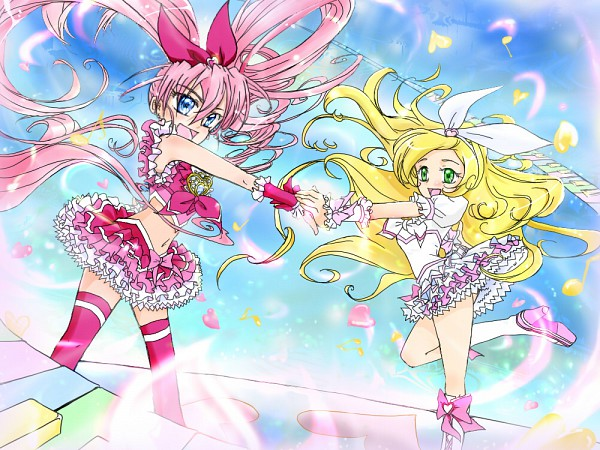 Tags: Anime, Hirohiro Fuji, Suite Precure♪, Cure Melody, Minamino Kanade, Hojo Hibiki, Cure Rhythm, Fanart From Pixiv, Pixiv, Fanart