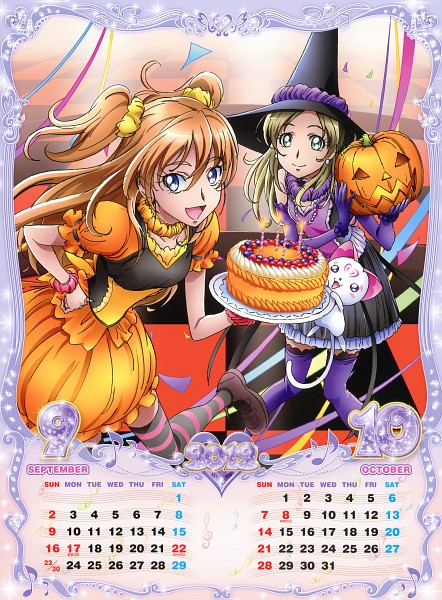 Tags: Anime, Takahashi Akira, Suite Precure♪, Minamino Kanade, Hojo Hibiki, Hummy, Streamers, Calendar (Source), Calendar 2012, Official Art