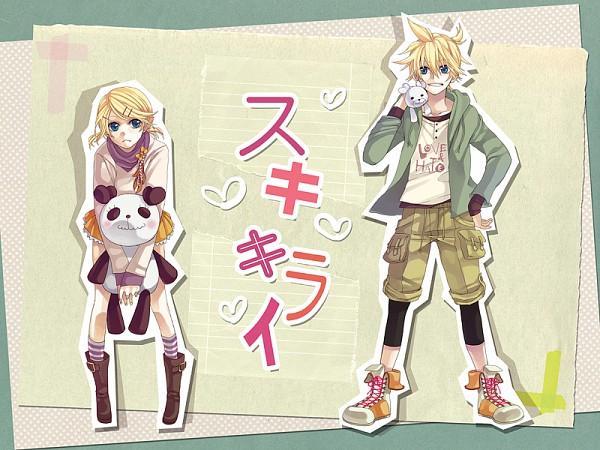 Tags: Anime, Shiroyama Ayako, VOCALOID, Kagamine Rin, Kagamine Len, Stuffed Panda, Official Art, Wallpaper, HoneyWorks, Suki Kirai, Kagamine Mirrors, Like Dislike