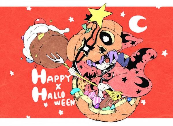 Tags: Anime, Pixiv Id 165881, Touhou, Sukuna Shinmyoumaru, Holding Fork, Jelly Beans, Text: Halloween, Shaded Face, Fanart, PNG Conversion, Pixiv, Fanart From Pixiv, Shinmyoumaru Sukuna