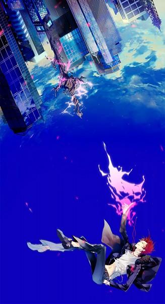 Tags: Anime, Kuon (Pixiv 717910), K Project, Suoh Mikoto, Shirt Lift, Skyscraper, Pixiv, Fanart, Mobile Wallpaper
