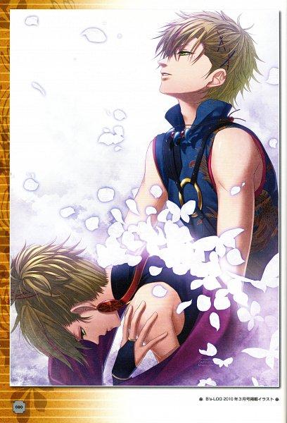 Tags: Anime, Nagaoka, IDEA FACTORY, S.Y.K ~Renshouden~ Official Visual Fan Book, S.Y.K, Suou (S.Y.K.), Magatama, Cross Clip, Self Scanned, Mobile Wallpaper, Scan, Official Art
