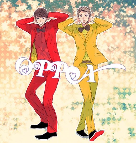 Tags: Anime, Pixiv Id 3496489, Lee Dong Hae, Lee Hyuk Jae, Yellow Pants, Yellow Jacket, Yellow Outerwear, Red Pants, Pixiv, Oppa Oppa, K-pop, J-Pop, Super Junior