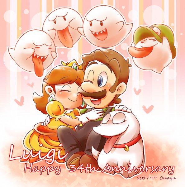Tags: Anime, Pixiv Id 865581, Luigi's Mansion, Super Mario Bros., Luigi, Princess Daisy, Boo, Pixiv, Fanart From Pixiv, Fanart