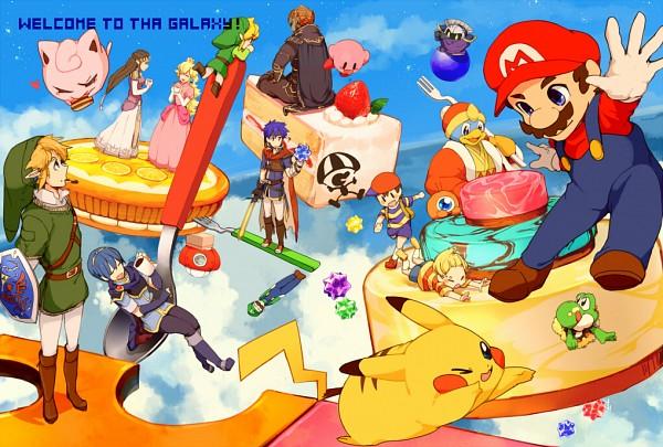 Tags: Anime, Pixiv Id 2687461, Super Smash Bros., Ike, Princess Zelda, Luigi, Pikachu, Ganondorf, Kirby, Toon Link, Lucas, Meta Knight, Yoshi