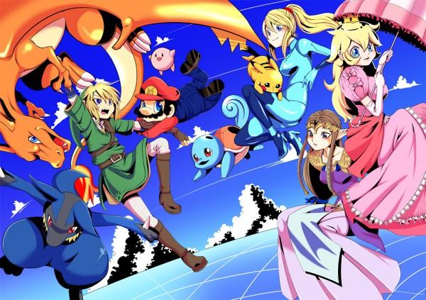 Tags: Anime, Dogear, Super Smash Bros., Squirtle, Pikachu, Lucario, Kirby, Charizard, Princess Peach, Mario (Character), Link, Zero Suit Samus, Princess Zelda