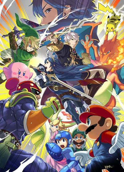 Tags: Anime, Kozaki Yuusuke, Nintendo, Super Smash Bros., Charizard, Lucina (Fire Emblem), Link, Mario (Character), Chrom (Fire Emblem), Pikachu, Luigi, RockMan (Character), Kirby