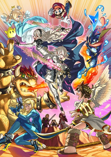 Tags: Anime, Kozaki Yuusuke, Nintendo, Super Smash Bros., Elise (Fire Emblem), Rosalina, Zero Suit Samus, Mario (Character), Kamui (Male) (Fire Emblem), Kamui (Female) (Fire Emblem), Greninja, Ryoma (Fire Emblem), Bowser
