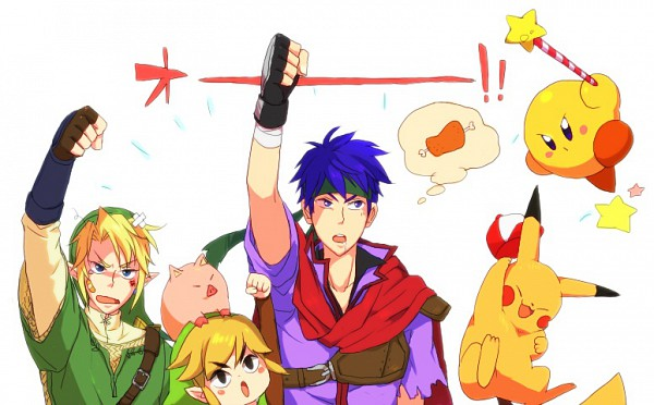 Tags: Anime, Azkn, Super Smash Bros., Pikachu, Toon Link, Kirby, Link, Ike, Meat, Pixiv, Fanart, Fanart From Pixiv