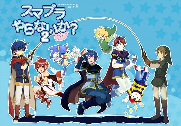 Tags: Anime, Pixiv Id 1272017, Super Smash Bros., Sonic the Hedgehog (Character), Pit, Kirby, Marth (Fire Emblem), Ness, Ike, Link, Roy (Fire Emblem), Toon Link, Pink Skin