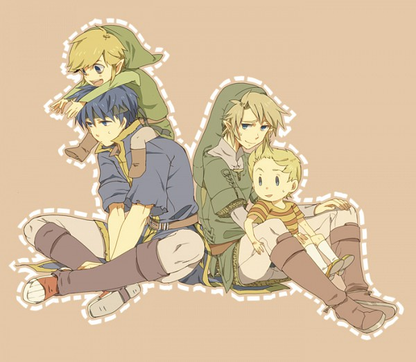Tags: Anime, Okayu (Pixiv 203418), Super Smash Bros., Lucas, Link, Ike, Toon Link, Dashed Line, Fanart From Pixiv, Pixiv, Fanart