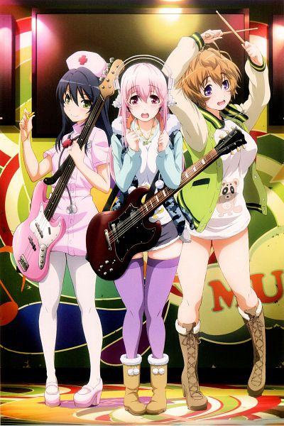 Tags: Anime, WHITE FOX, Super Sonico, SoniAni Super Fan Book, Sonico, Fujimi Suzu, Watanuki Fuuri, Playing Guitar, Scan, Mobile Wallpaper, Official Art