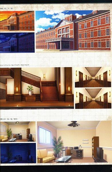 Tags: Anime, MELO (Pixiv3603676), IDEA FACTORY, Otomate, Suuran Digit Official Fanbook, Suuran digit, Hallway, Self Scanned, Scan, Official Art, CG Art