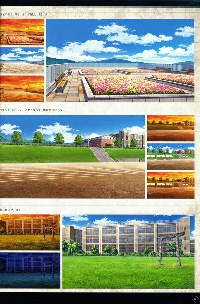 Tags: Anime, MELO (Pixiv3603676), IDEA FACTORY, Otomate, Suuran Digit Official Fanbook, Suuran digit, School Building, Self Scanned, Scan, Official Art, CG Art