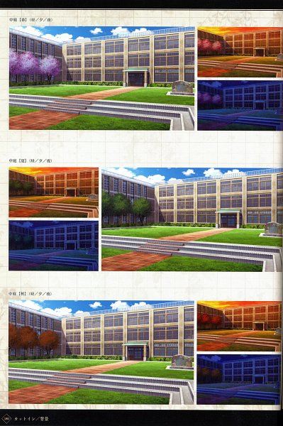 Tags: Anime, MELO (Pixiv3603676), IDEA FACTORY, Otomate, Suuran Digit Official Fanbook, Suuran digit, School Building, Scan, Official Art, CG Art, Self Scanned