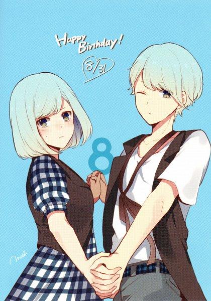 Tags: Anime, MELO (Pixiv3603676), Otomate, Suuran Digit Official Fanbook, Suuran digit, Hachizawa An, Hachizawa Mei, Mobile Wallpaper, Official Art, Self Scanned, Scan
